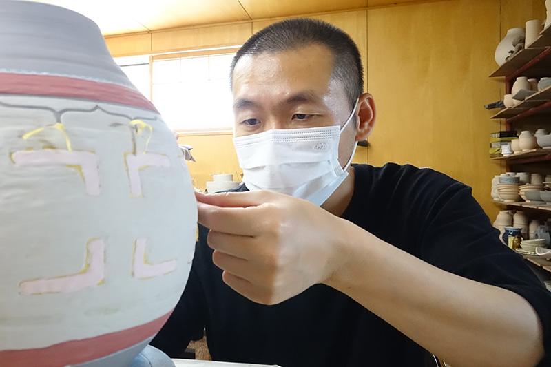 作業はマスク着用で
